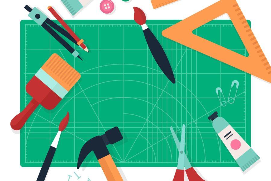 narzędzia na tablicy